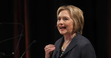 Hillary Clinton gives a lecture in the Edmund Burke Lecture Theatre, Trinity College Dublin