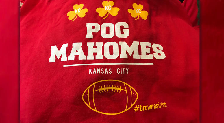Send Chiefs QB Patrick Mahomes a kiss with this clever twist of an old Irish phrase