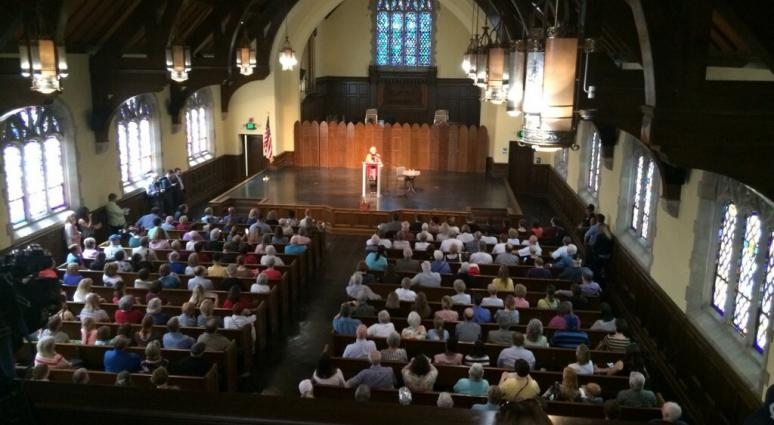 Missouri Senator Claire McCaskill stands at the podium in the Park University chapel where she held a town hall on April 13th