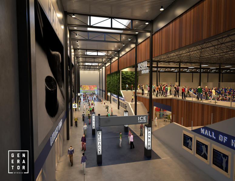 Interior view of proposed ice sports complex in St. Louis County.