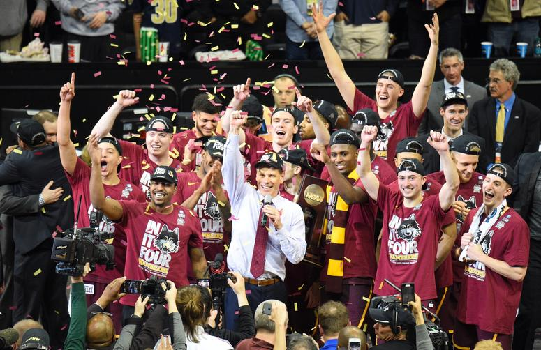 Mar 24, 2018; Atlanta, GA, USA; The Loyola Ramblers celebrate after defeating the Kansas State Wildcats in the championship game of the South regional of the 2018 NCAA Tournament at Philips Arena. Credit: Adam Hagy-USA TODAY Sports
