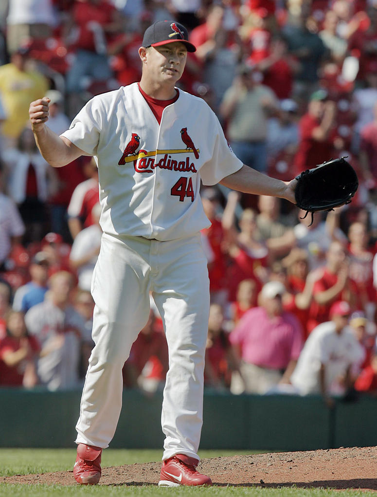 St. Louis Cardinals pitcher Jason Isringhausen celebrates the last out of a 4-1 victory