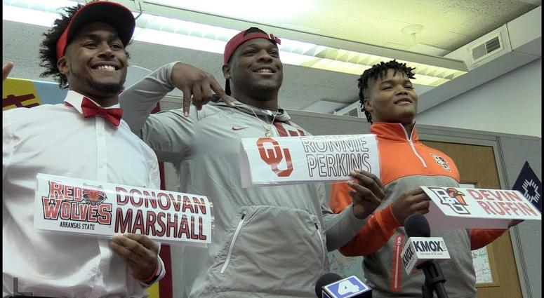 Ronnie Perkins and two of his teammates commit on National Early Signing Day