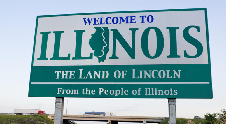 Illinois Welcome Sign - spring time