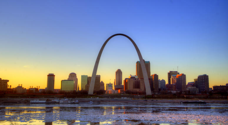 The St. Louis, Missouri Gateway Arch and skyline
