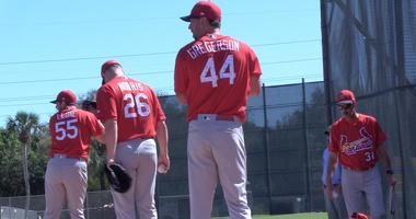 St. Louis Cardinals pitchers Luke Gregerson, Bud Norris and Dominic Leone at spring training