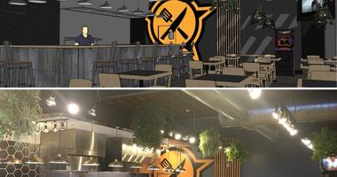 Rendering of Guerrilla Streetfood's new location compared to the actual photo