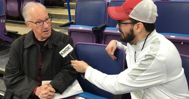 """NBC hockey broadcaster Mike """"Doc"""" Emrick chats with KMOX's Alex Ferrario at Scottrade Center."""