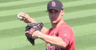 St. Louis Cardinals pitcher Jack Flaherty warms up