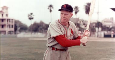Red Schoendienst with the St. Louis Cardinals shows his batting stance
