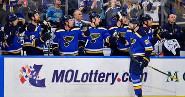 Patrik Berglund celebrates his goal with the St. Louis Blues bench