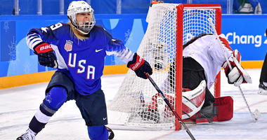 United States forward Gigi Marvin (19) reacts to scoring a goal against Canada