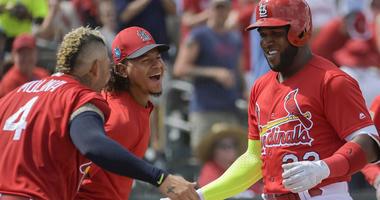 St. Louis Cardinals left fielder Marcell Ozuna (23) is congratulated by catcher Yadier Molina (left) and starting pitcher Carlos Martinez
