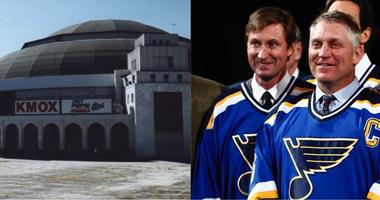 St. Louis Arena on the day of its demolition in February, 1999 & former Blues teammates Wayne Gretzky and Brett Hull