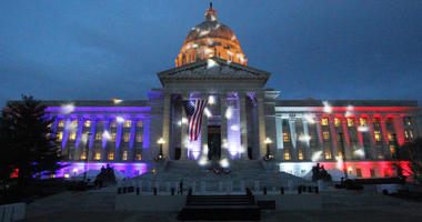 The Missouri Capitol Building is bathed in red,white and blue lights as the inaguration party for new Governor Eric Greitens is about to begin in Jefferson City, Missouri on January 9, 2017.