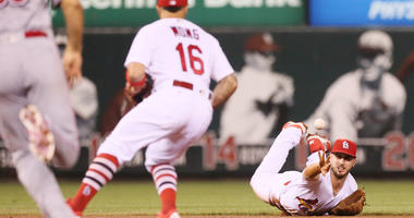St. Louis Cardinals shortstop Paul DeJong tosses the ball to second baseman Kolten Wong