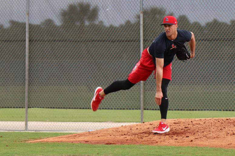 Starting pitcher Jack Flaherty throws a bullpen session.
