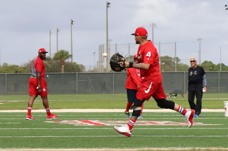 Catcher Yadier Molina joins in on an outfielders drill.