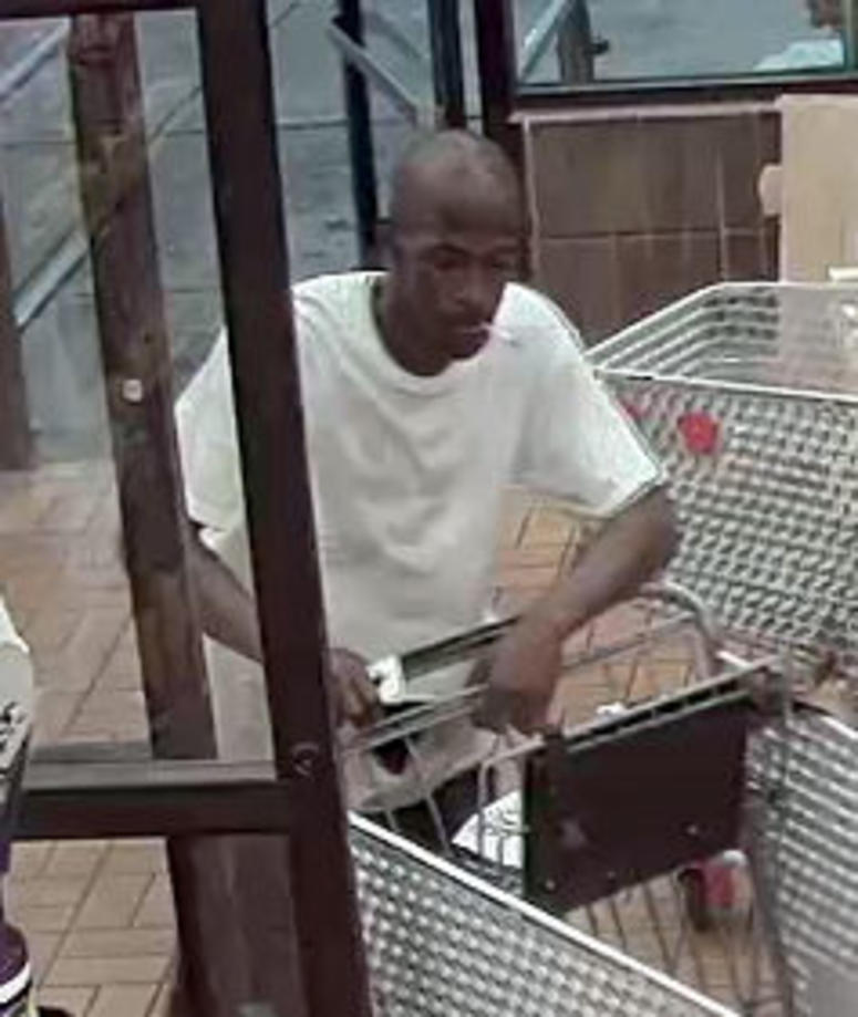 A surveillance image of a man police believe is behind three robberies in St. Louis from June 12 to June 17, 2018.