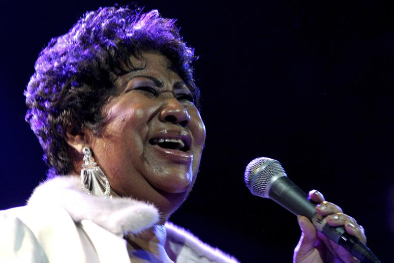 Aretha Franklin performs at the House of Blues in Los Angeles.