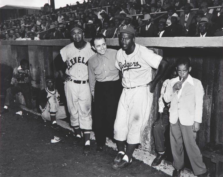 Former MLB players Larry Doby (left) and Jackie Robinson (right) at Martin's Stadium in 1953.
