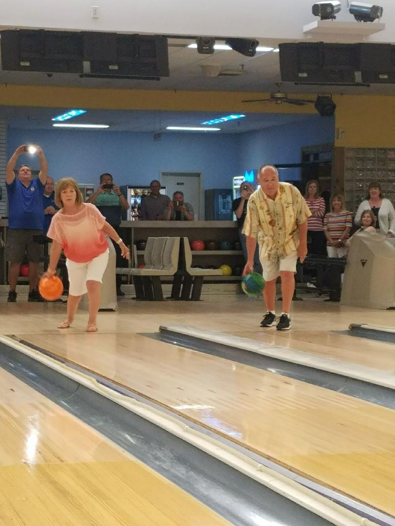 Co-owners Ron Leveque and Nora Hoechstenbach bowl their final frames at Show Me Lanes.