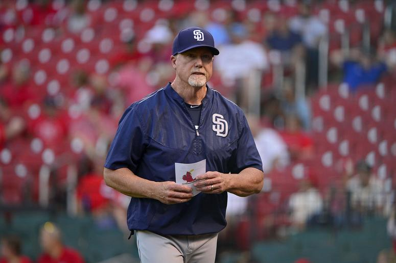 Aug 24, 2017; St. Louis, MO, USA; San Diego Padres bench coach Mark McGwire (25) walks back to the dugout prior to a game against the St. Louis Cardinals at Busch Stadium.