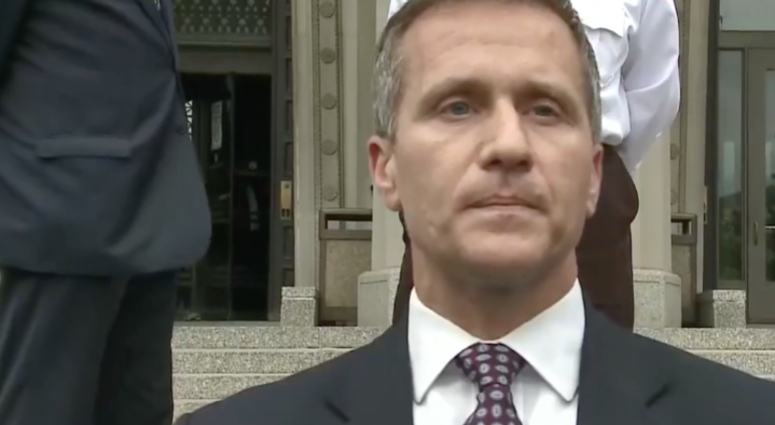 Gov. Eric Greitens speaks to media outside the St. Louis Civil Courts Building after the invasion of privacy of charge was dropped.