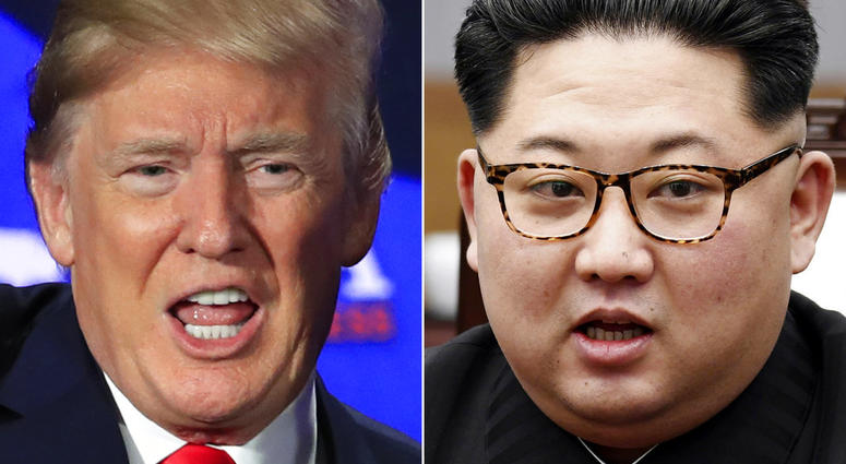 This combination of two file photos shows U.S. President Donald Trump, left, speaking during a roundtable discussion on tax cuts in Cleveland, Ohio, May 5, 2018 and North Korean leader Kim Jong Un, right, talking with South Korean President Moon Jae-in in