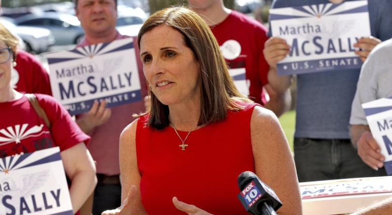 U.S. Rep. Martha McSally, R-Ariz., speaks after delivering her signatures to the Arizona Secretary of State's office Tuesday, May 29, 2018, at the Capitol in Phoenix.