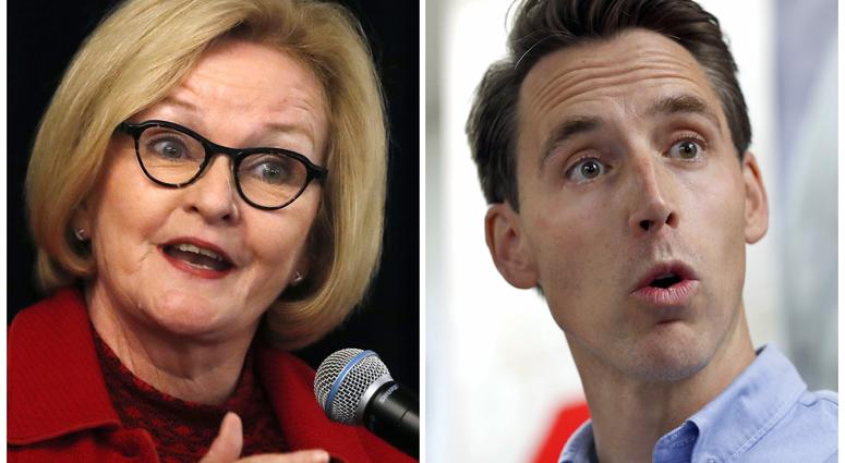This combination of file photos shows Missouri U.S. Senate candidates in the November election, Democratic incumbent Sen. Claire McCaskill, left, and her Republican challenger Josh Hawley.
