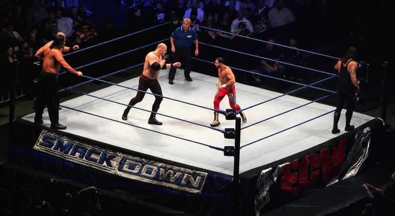 ECW Champion Kane (in ring, L)faces off against Chavo Guerrero during WWE Smackdown at Acer Arena on June 15, 2008 in Sydney, Australia.