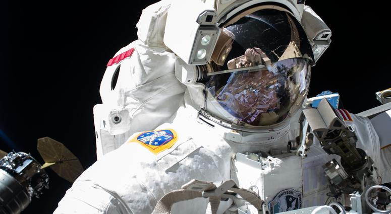 NASA astronaut Peggy Whitson is seen during the 200th spacewalk in support of the International Space Station.