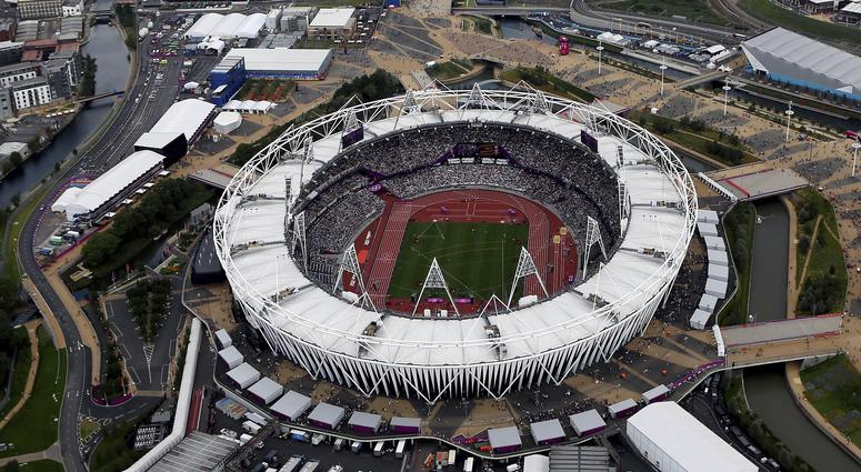 Aerial file photo shows the Olympic Stadium at Olympic Park, in London.