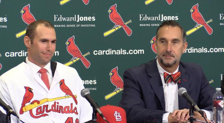 Paul Goldschmidt and John Mozeliak at the Cardinals press conference.