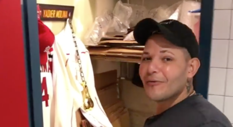 Yadier Molina discovers his belongings have been moved into a closet.