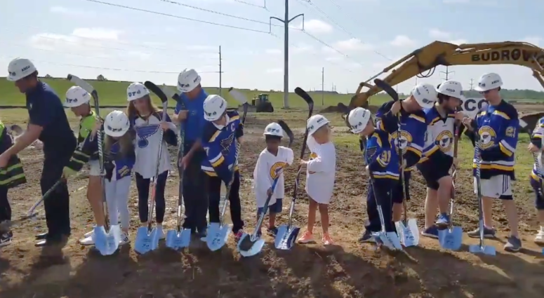 St. Louis Blues players, local youth hockey players break ground on new ice center