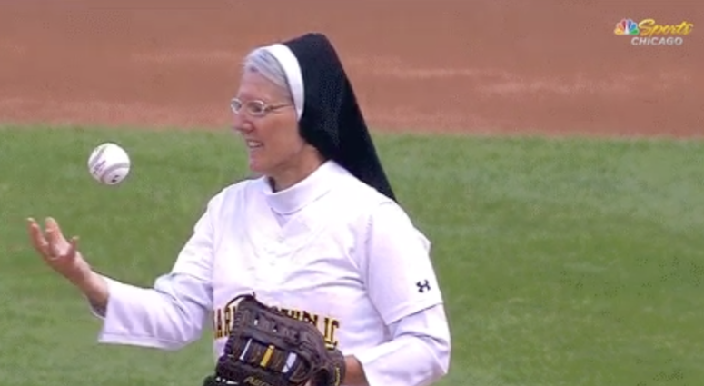 Sister Mary Jo Sobiek threw the ceremonial pitch in Chicago on Saturday night
