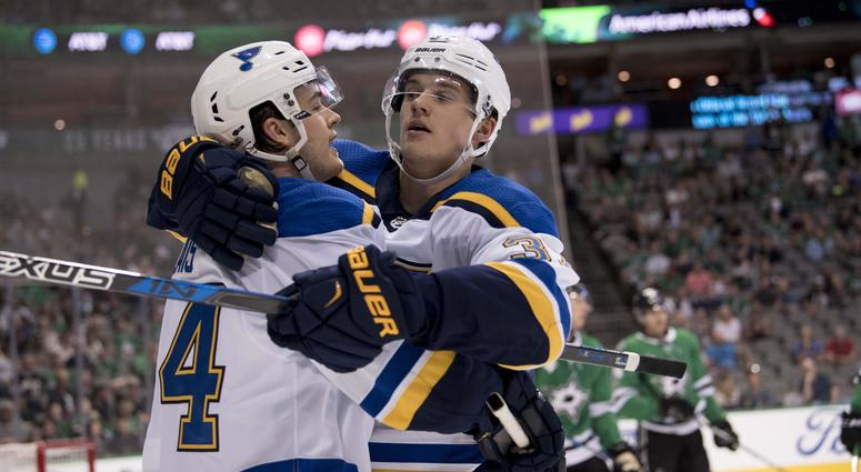 St. Louis Blues left wing Samuel Blais (64) and right wing Klim Kostin (37) celebrate a goal against the Dallas Stars.