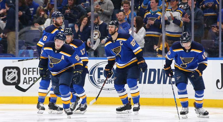 St. Louis Blues right wing Vladimir Tarasenko (91) skates towards the bench after scoring a goal and being congratulated by teammates Joel Edmundson (6) and Jaden Schwartz (17) and Alex Pietrangelo (27) and Brayden Schenn.