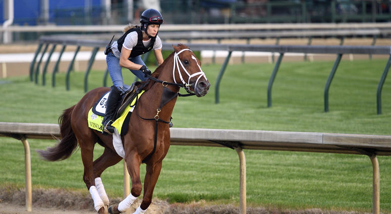 Exercise rider Adele Bellinger works out Kentucky Derby entry Vino Rosso at Churchill.