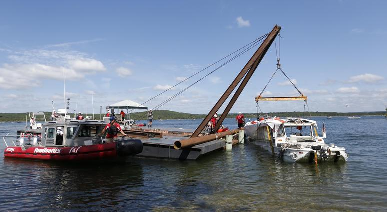 The duck boat that sank last week on Table Rock Lake killing 17 people has been raised from the bottom by crews on Monday, July 23, 2018.