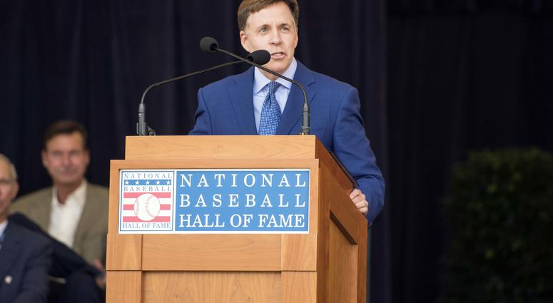 Bob Costas receives the Ford C. Frick Award at the National Baseball Hall of Fame in Cooperstown, NY.