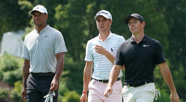 The group of Justin Thomas, Rory McIlroy and Tiger Woods at PGA Championship.