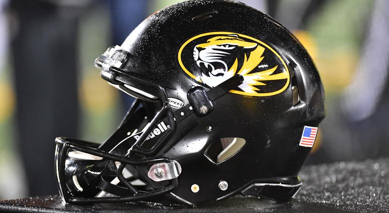 Missouri football helmet sits on the bench