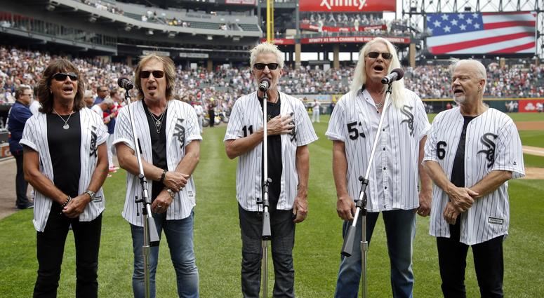 Jul 4, 2016; Chicago, IL, USA; American rock band REO Speedwagon sings national anthem before the Chicago White Sox and New York Yankees game at U.S. Cellular Field. Mandatory Credit: