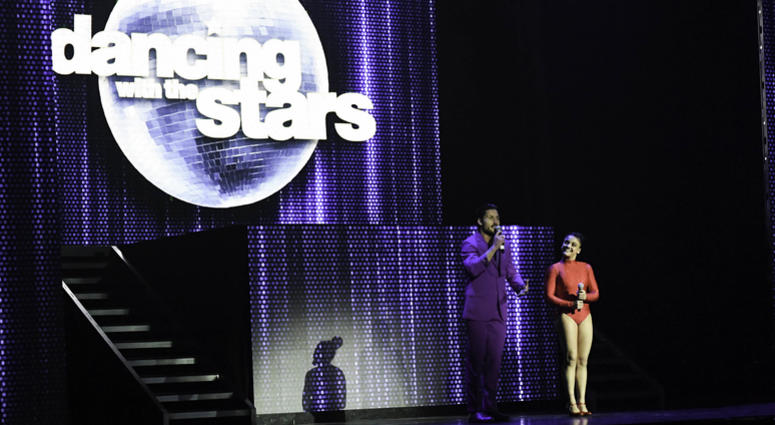 VaL Chmerkovskiy and Laurie Hernandez perform during the Dancing With The Stars
