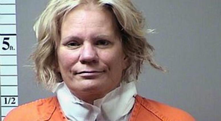 Pamela Hupp's mugshot after alleged suicide attempt with ink pen.