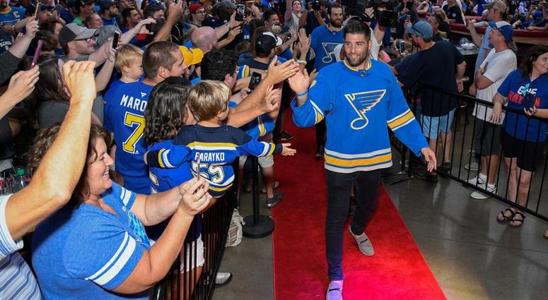Pat Maroon Introduced to St. Louis Blues Fans  783e8890f55