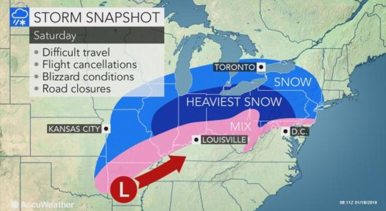 Winter Storm To Bring Snow Ice Wind and Bitter Cold Saturday